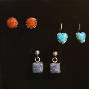 Carolyn Pollack Earring Trio - Vintage